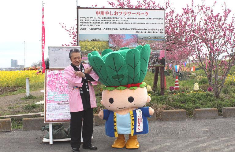 【八潮市】花桃まつりをPR!大山しのぶ市長の埼玉ポーズ!